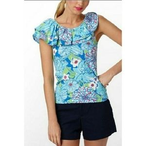 Lilly Pulitzer wynne ruffle top blue may flowers